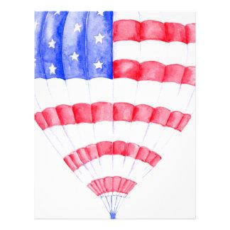 Watercolor American Flag Air Balloon Letterhead