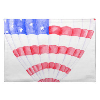 Watercolor American Flag Air Balloon Placemat