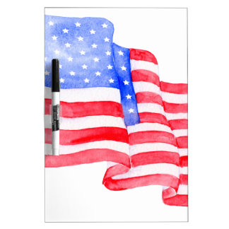 Watercolor American Flag Dry Erase Board