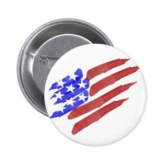 Watercolor American Flag Patriotic Button Pin