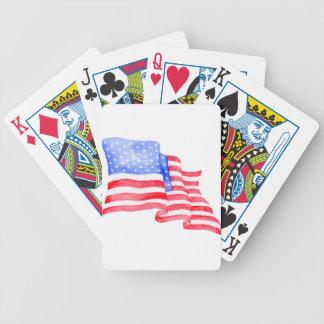 Watercolor American Flag Poker Deck