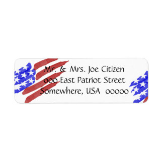 Watercolor American Flag Return Address Label