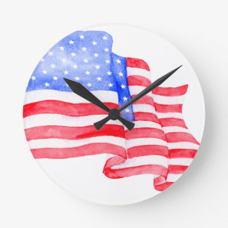 Watercolor American Flag Round Clock