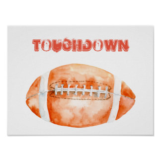 """Watercolor American football """"touchdown"""" Poster"""
