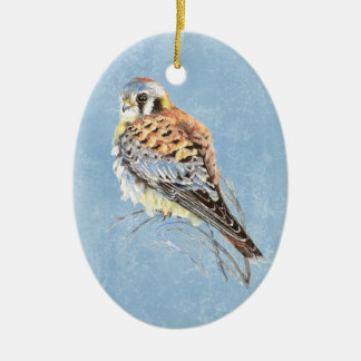 Watercolor American Kestrel, Falcon Bird Hawk Ceramic Oval Ornament