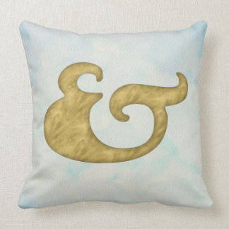 Watercolor Ampersand Nautical | Gold for API Throw Pillow