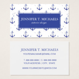Watercolor Anchor Pattern 2 Business Card