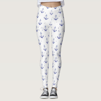 Watercolor Anchor Pattern 2 Leggings