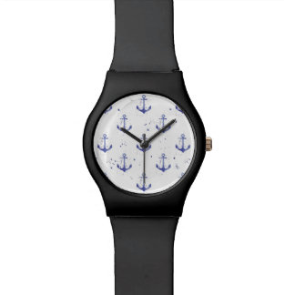 Watercolor Anchor Pattern 2 Wristwatch