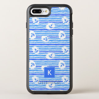Watercolor Anchor Pattern | Add Your Initial OtterBox Symmetry iPhone 7 Plus Case