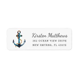 Watercolor Anchor Return Address Labels