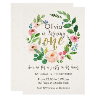 Watercolor And Calligraphy 1st Birthday Invitation