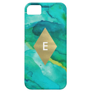 Watercolor and faux gold Monogram Iphone case iPhone 5 Cases