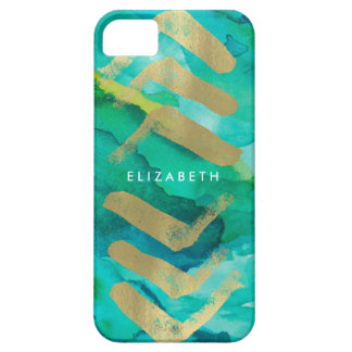 Watercolor and gold Chevron Monogram case Case For The iPhone 5