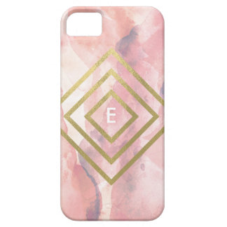 Watercolor and gold Diamonds Monogram case iPhone 5 Cover