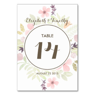 Watercolor and Gold Garden Table number Table Cards