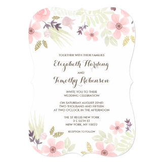Watercolor and Gold Garden Wedding Invitation