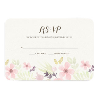 """Watercolor and Gold Garden Wedding RSVP 3.5"""" X 5"""" Invitation Card"""
