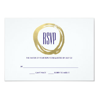 Watercolor and Gold Modern  Wedding RSVP 3.5x5 Paper Invitation Card