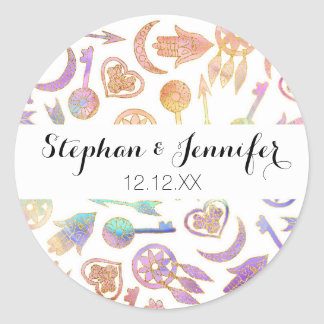 Watercolor and Gold Popular Symbols on White Classic Round Sticker