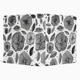 Watercolor and ink flowers – black and white 3 ring binder
