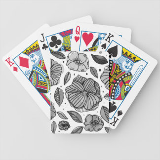 Watercolor and ink flowers - black and white bicycle playing cards