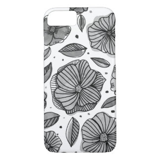 Watercolor and ink flowers – black and white Case-Mate iPhone case