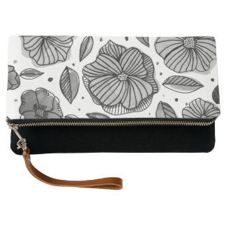 Watercolor and ink flowers – black and white clutch