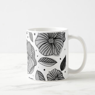 Watercolor and ink flowers – black and white coffee mug