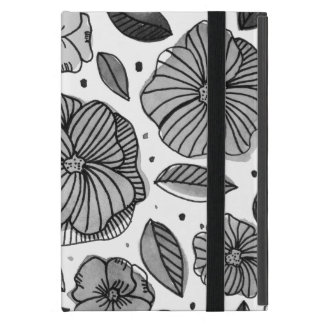 Watercolor and ink flowers – black and white cover for iPad mini
