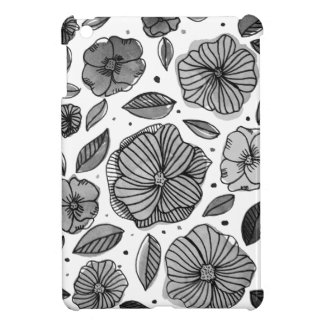 Watercolor and ink flowers – black and white cover for the iPad mini