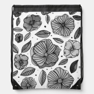 Watercolor and ink flowers – black and white drawstring bag