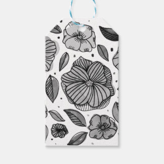 Watercolor and ink flowers - black and white gift tags