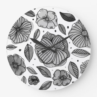Watercolor and ink flowers – black and white large clock