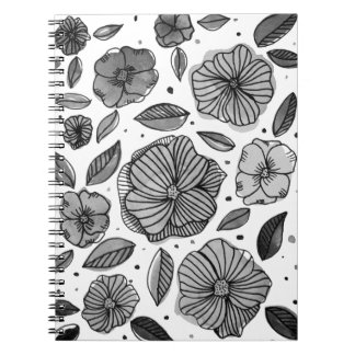 Watercolor and ink flowers – black and white notebook