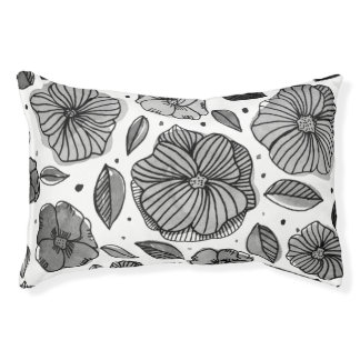 Watercolor and ink flowers – black and white pet bed
