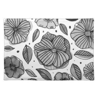 Watercolor and ink flowers - black and white placemat