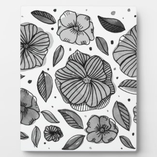 Watercolor and ink flowers - black and white plaque