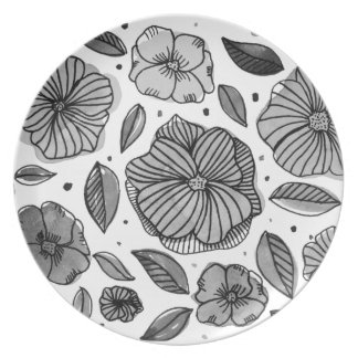 Watercolor and ink flowers - black and white plate
