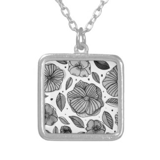 Watercolor and ink flowers - black and white silver plated necklace