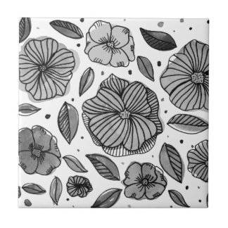 Watercolor and ink flowers - black and white tile