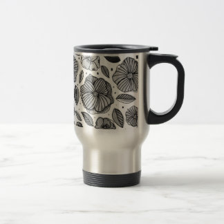Watercolor and ink flowers - black and white travel mug