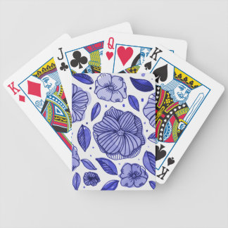 Watercolor and ink flowers - blue bicycle playing cards