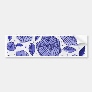 Watercolor and ink flowers - blue bumper sticker