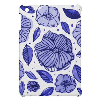Watercolor and ink flowers - blue case for the iPad mini
