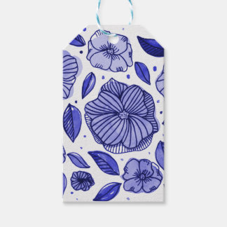 Watercolor and ink flowers - blue gift tags