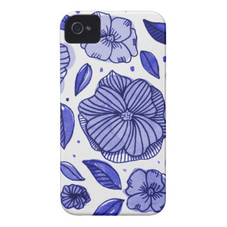 Watercolor and ink flowers - blue iPhone 4 covers