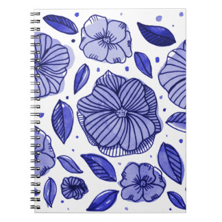 Watercolor and ink flowers - blue notebook