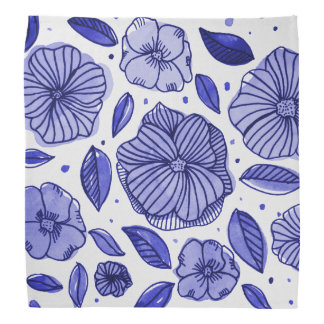 Watercolor and ink flowers – blue palette bandana