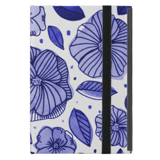 Watercolor and ink flowers – blue palette case for iPad mini